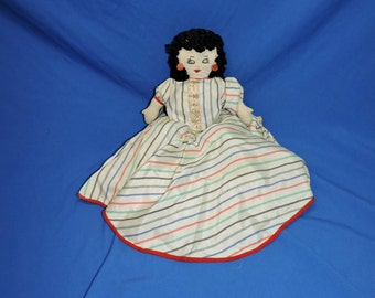 Vintage 1940s Bed Doll Handmade Sitting Cloth Doll Striped Dress Black Yarn Hair Embroidered Face Red Earrings
