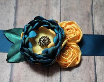 Teal Sunflower Yellow and Green Sash Ready for Fall Autumn Colors Maternity sash bridal sash