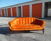 She LIVES ON LOVESEAT / Amazing Hollywood Regency Gondola Style Loveseat / Incredible Side And Back Profiles