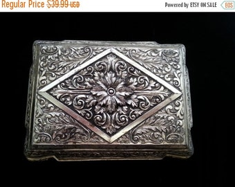 Now On Sale Vintage Ornate Silver Tone Flowered Jewelry Box ** 1950s 1960s Signed Japan Trinket Box ** Retro Vanity Mid Century Home Decor