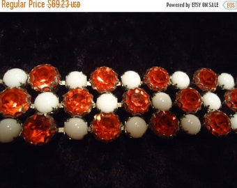 Now On Sale Beautiful Bold Chunky Orange Rhinestone White Milk Glass Bracelet 1950s 1960s Vintage Hollywood Regency