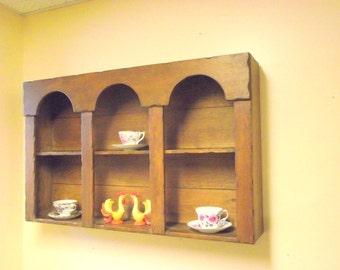 "Primitive Farmhouse Shelf Wood Curio Knick Knack Teacup Tea Cup & Saucer Holder - Hanging Tiered Display - Large 36"" WIDE"