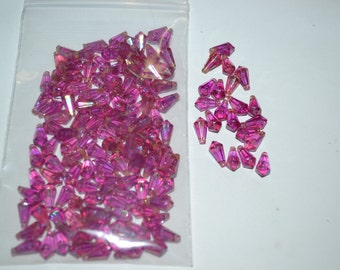 6MM X 11.5MM Fuchsia Aurora Boreale Horizontal Hole Tear Drop Acrylic Bead 1Gross