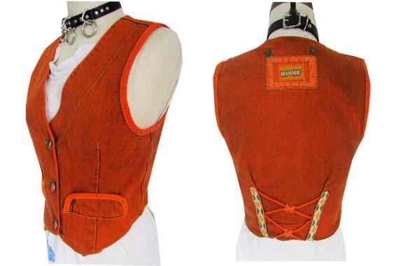 Orange Denim Western Biker Funky Striped Corset Lace Up Vest