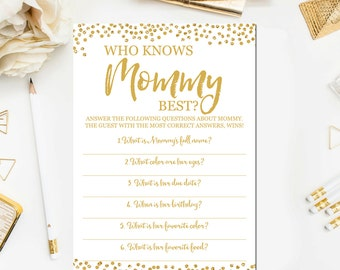Who Knows Mommy Best Printable, Gold Baby Shower Games, Baby Shower Games Printable Guessing Game Instant Download BB6