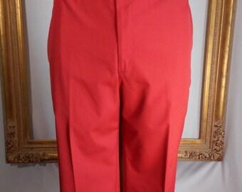 30% OFF SUMMER SALE - - Vintage Corbin Red Poplin Trousers - Size 40