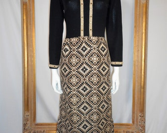 Vintage 1970's R&K Knits Black/Brown/Metallic Maxi Dress - Size 14