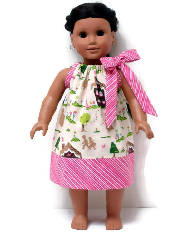 18 inch doll clothes pillowcase dress christmas peppermint forest 15