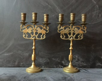 Vintage brass candle sticks set of two candle holders lion motif dining table dramatic center piece