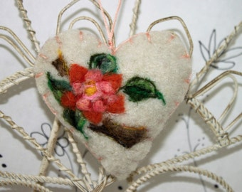 Needle felted heart ornament, brooch, pincushion, floral branch ornament, Mothers Day, friend ornament, Forget me not heart from Curly Furr