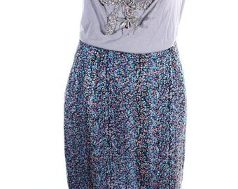 Vintage 90s Lilac Purple Marbled Speckled Knee Length Pencil Skirt UK 12 US 10