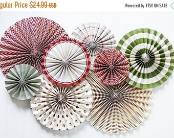 SALE 50% OFF Christmas Decoration Christmas Hanging Paper Fans Christmas Rosettes Holiday Party Decoration Christmas Banner Christmas Favors