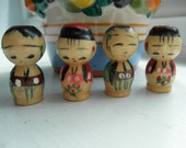 Japanese Kokeshi Miniature Wood Dolls Handpainted Vintage Japan Boy Girl Diorama Altered Art Mixed Media Terrarium Craft Supply Supplies