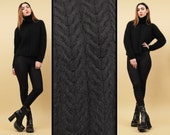 80s 90s Vtg Black ANGORA FUR Chunky Cable Knit Crop Sweater / Turtleneck High Collar MINIMAL Modern Boxy / Med Lrg
