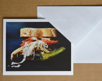 "Set of 10 Blank Greeting Cards & Envelopes- ""The Pitts-burger"""