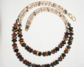Red, Yellow, and Blue Tigers Eye Necklace