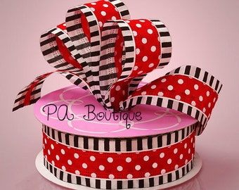 "Adorable 1-1/2""W x 5YDS Semi-Sheer Wired Ribbon Red White Black Stripes & Polka Dots"