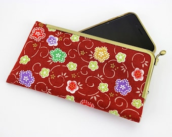 iPhone 7 Fabric Cover,Samsung Phone Pouch, Unique Gift Idea,  Galaxy S7 Case Plum Blossoms Red