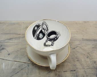 Black, White & Gold Ball N' Chain Tea Cup and Saucer or Mug-The Old Ball N' Chain, Wedding Gift, Gifts for Guys