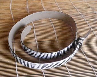 "Vintage Distressed Black And White Pony Fur Zebra Leather Belt Fits from 33"" to 37"" waist"
