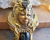 bird goddess pendant / cosmic spirit amulet / tektite and tourmaline pendant