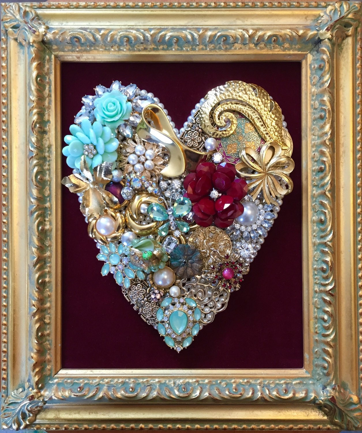beautiful vintage jewelry framed art by upcycledassemblage