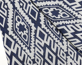 Thai Woven Fabric Tribal Fabric Native Fabric by the yard Ethnic fabric Aztec fabric Craft Supplies Woven Textile1/2yard White Blue (WFF71)
