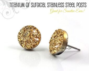 Gold Druzy Stud Earrings - Gold Faux Druzy Post Titanium or Stainless Steel Studs - Small Wedding Bridal Golden Earrings Sensitive Ears
