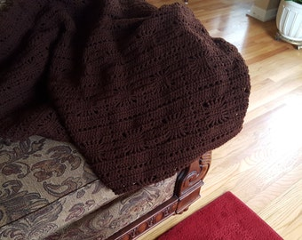 Brown Afghan Blanket Square Pattern What a Great Way to Dress Up A RoomLarge 61 x 53