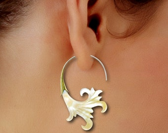 Ocean Waves, Fake Gauge, Brass Shell & Mother Of Pearl Earrings, Hand Carved, Organic, Shell Wings, SS-2