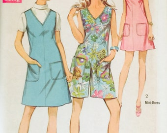 """Simplicity 8195, Size 18, Bust 40"""", Misses' Jiffy Dress or Jumper in Two Lengths and Mini-Pantdress Pattern, UNCUT, Vintage 1969, Sundress"""