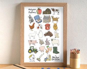 Farm Alphabet Print - gift for farm lover - animal art - nursery decor - gift for child - Alphabet of Farms - children's art - kids art