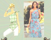 Off the Shoulder Dress or Boho Tunic Pattern with Shoulder Ties and Asymmetrical Hemline, Size 10 Bust 32, Butterick Sewing Pattern 5432