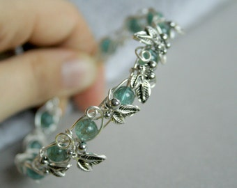 Frozen - blue green apatite leaves branch silver filled wire wrapped bangle bracelet