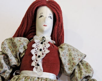 Victorian Style Cloth Doll, Vintage Fabric Decorative Handmade Collectible Shelfsitter, Textile Fiber Art Doll, Home Decor itsyourcountry