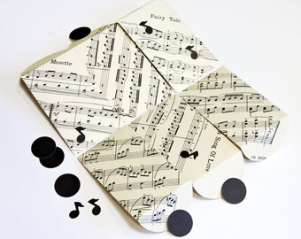 Mini Music Envelopes, Gift Card Holders, Mini Paper Pouches Set of 6, Upcycled Vintage Sheet Music Pocket Keepsake Envelopes itsyourcountry