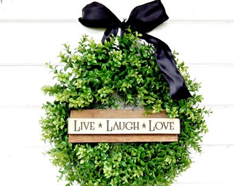 BOXWOOD Wreath-Fall Wreath-Door Sign-Country Chic Home Decor-SCENTED Wreath-Winter Wreath-Boxwood Wreath-Outdoor Wreath-Housewarming Gifts