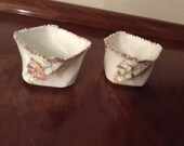Reserved For JO Antique Porcelain Square Open Salt Cellars Set of Two  Salt and Pepper Dinnerware