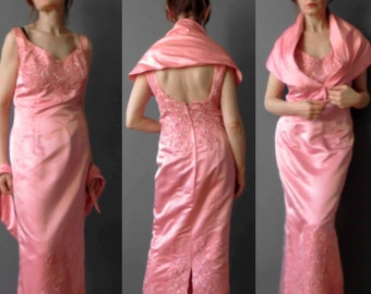 Vintage 60s Pink Satin Evening Maxi Dress Cornelli Braid Ball Gown