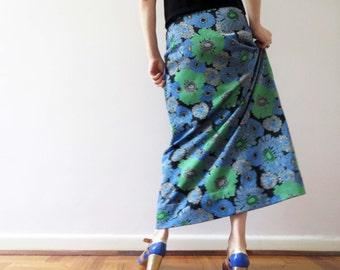 Vintage 70s Blue Green Bold Floral Lurex Maxi Skirt Small