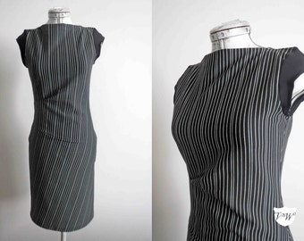 Black White Wiggle Galaxy Dress Stretch Knit Handmade Design Extra Small