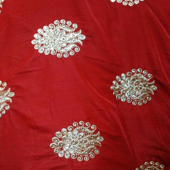 Half yard black embroidered velvet fabric traditional