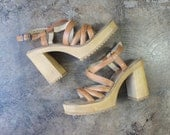 Size 8 M / 90's Platforms Sandals / Vintage Leather Wood Chunky Heel Shoes / Women's Strappy Shoe