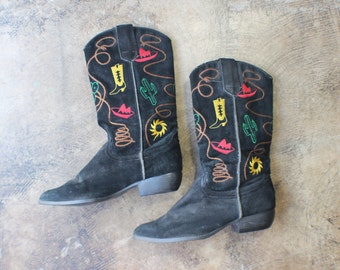Size 7 1/2  / Women's Cowboy BOOTS / Cactus Embroidered Boots / Women's Black Suede Western Shoes