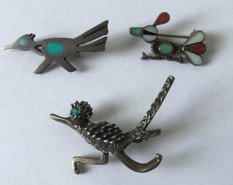 ROADRUNNER Bird PIN Brooch Lot SOUTHWESTERN Tribal Silver Turquoise & More