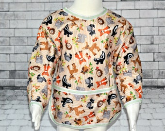 Shirt Saver Full Coverage Baby or Toddler Bib With Long Sleeves and Pocket- Waterproof - Woodland Animals