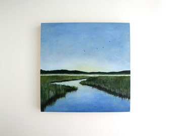 Marsh Landscape Painting - 8 x 8