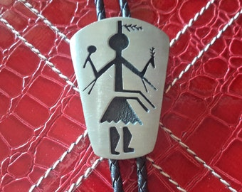 KOKOPELLI Dancer Bolo Tie Mythical Western Attire Unisex or Mens Gift Native American Style Brushed Stainless