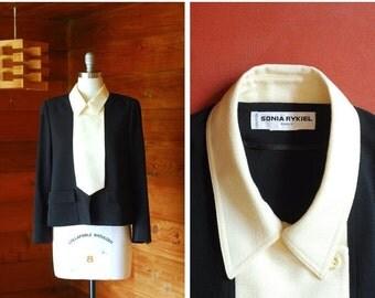 JULY SALE / vintage Sonia Rykiel black and white jacket / size medium