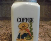 VINTAGE McKee 28oz Depression Custard Glass COFFEE Canister W/Old Mexican Decal